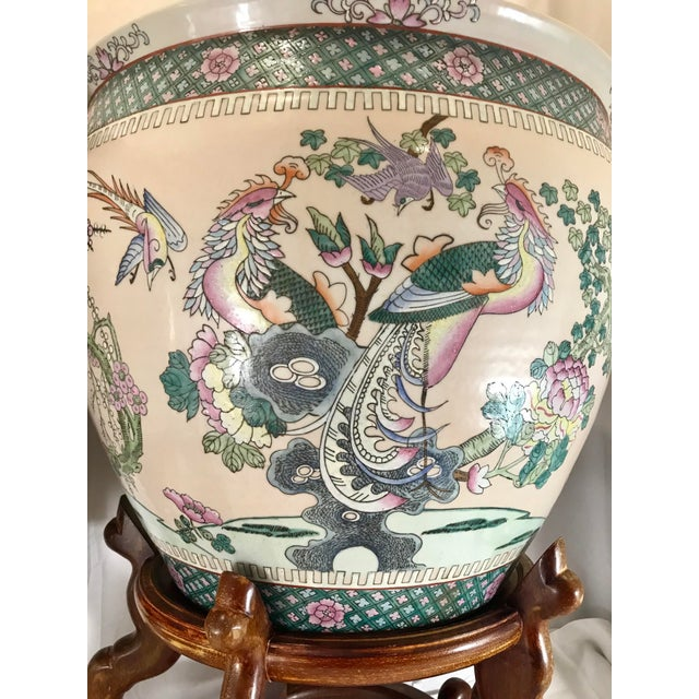 20th Century Chinese Qing Famille Verte Porcelain Jardinieres / Planters - a Pair For Sale - Image 4 of 13