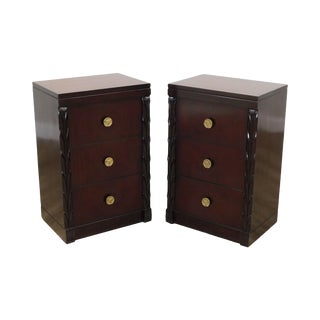 John Stuart Vintage Hollywood Regency Style Pair Mahogany Chests Nightstands For Sale