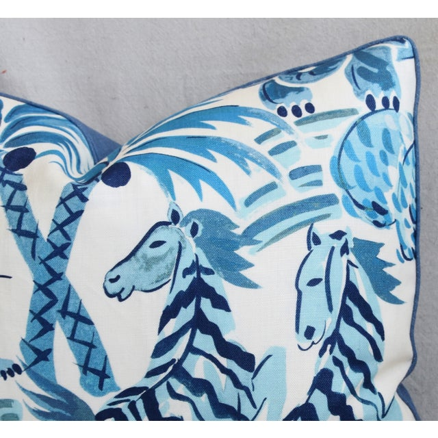"""P. Kaufmann Blue & White Animal Feather/Down Pillow 22"""" X 16"""" For Sale In Los Angeles - Image 6 of 9"""