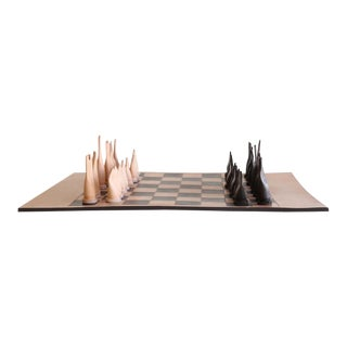 Modern Leather Chess Set For Sale