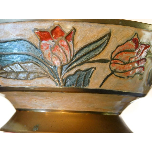 Indian Floral Brass Bowl For Sale - Image 3 of 7