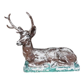 1940s Vintage French Garden Stag Statue For Sale