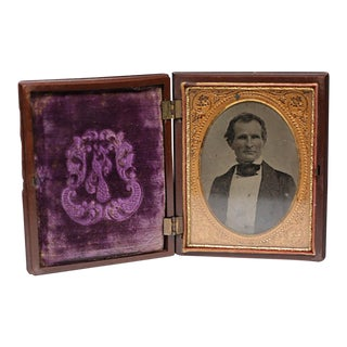 Large Daguerreotype in Embossed Gutta-Percha Case, Circa 1880s For Sale