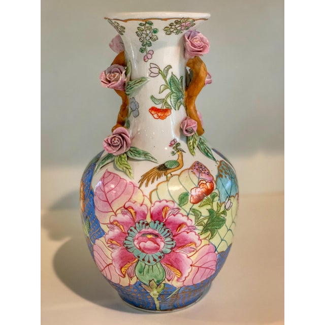 Pink Tobacco Leaf Vase With Applied Flowers For Sale - Image 8 of 8