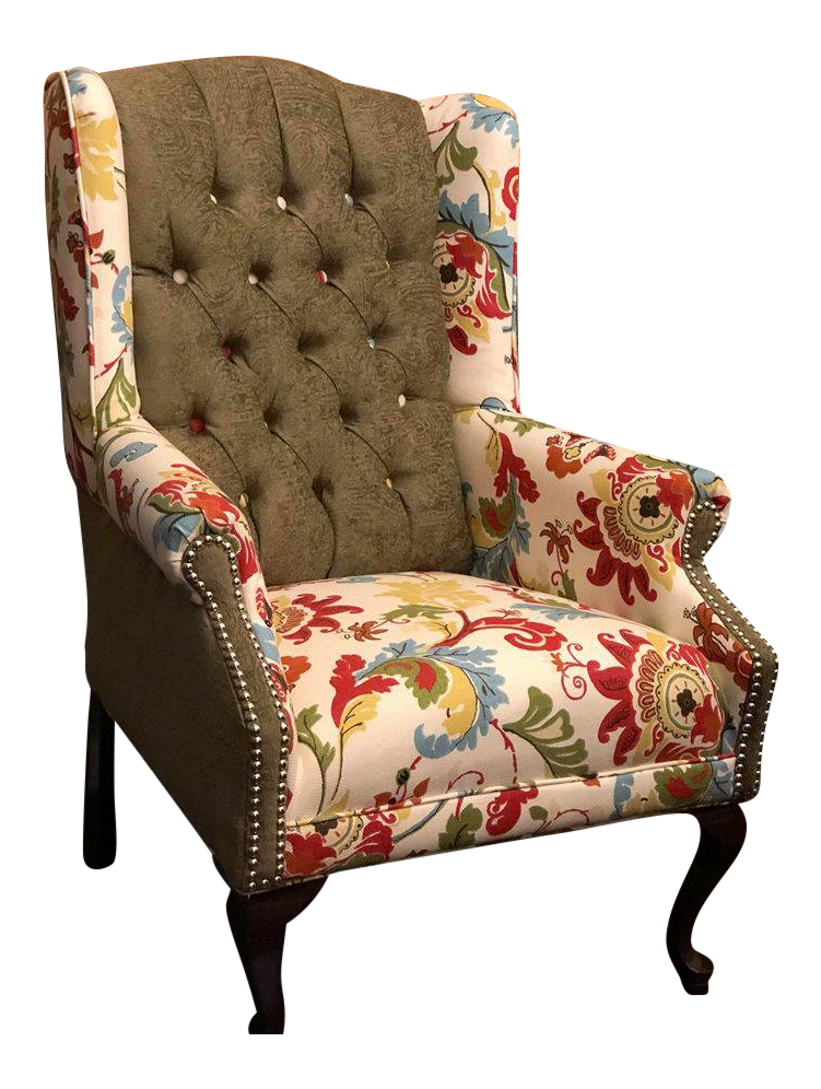 Merveilleux Refurbished Antique Wingback Chair For Sale