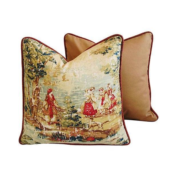 Romantic Custom Renaissance Toile Pillows - Pair - Image 4 of 6