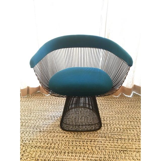 Bronze Vintage Mid Century Warren Platner Teal Dining Chairs- Set of 8 For Sale - Image 7 of 12