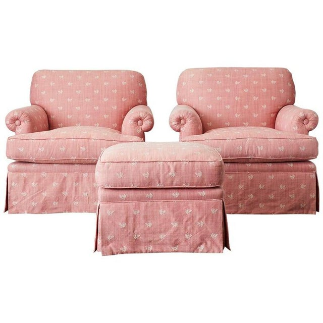 Pair of English Style Upholstered Club Chairs With Ottoman For Sale - Image 13 of 13