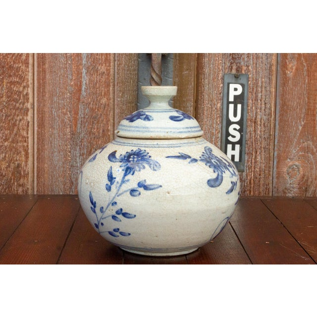 Chinese Fascinating Early 20th Century Blue and White Jar For Sale - Image 3 of 12