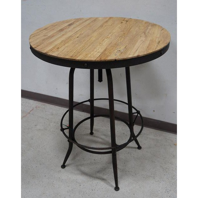 Modern Industrial Reclaimed Wood Iron Base Round Table - Image 2 of 4