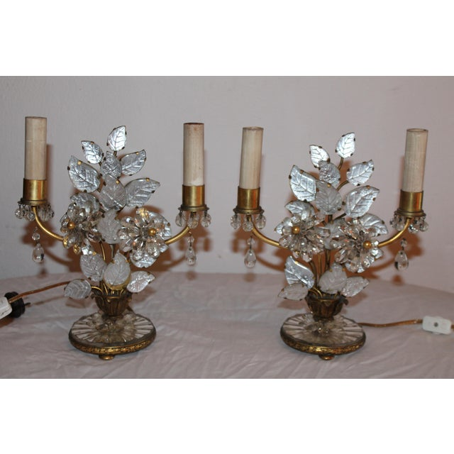 1930s Maison Bagues French Art Deco Cut Crystal Flowers Table Lamps - a Pair For Sale - Image 13 of 13