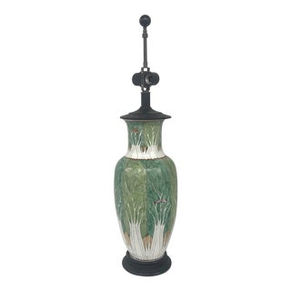 Vintage Chapman Japanese Hand Painted Green Lamp For Sale