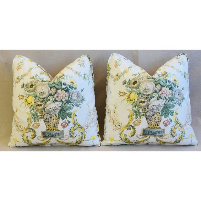 "Schumacher Floral Airlie Bouquet & Chenille Feather/Down Pillows 21"" Square - Pair For Sale In Los Angeles - Image 6 of 13"