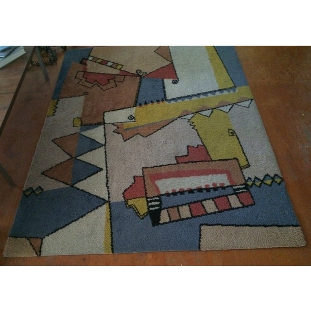 "1970s Vintage Mid-Century Abstract Area Rug - 7'6""x5'5"" For Sale - Image 5 of 8"