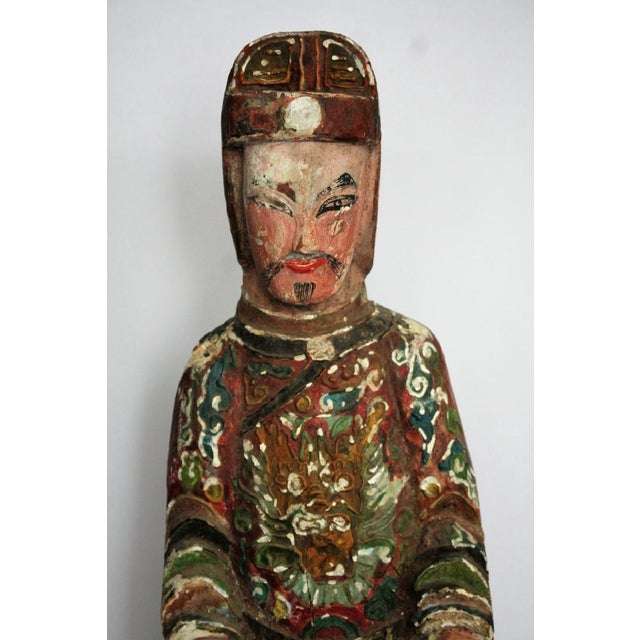 Early Chinese Polychromed Wood Temple Figure - Image 3 of 8