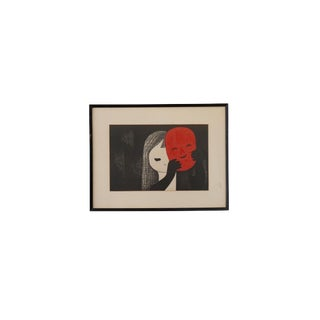 """Mid-Century Japanese """"Child and Mask"""" Wood Block Print by Kakk For Sale"""