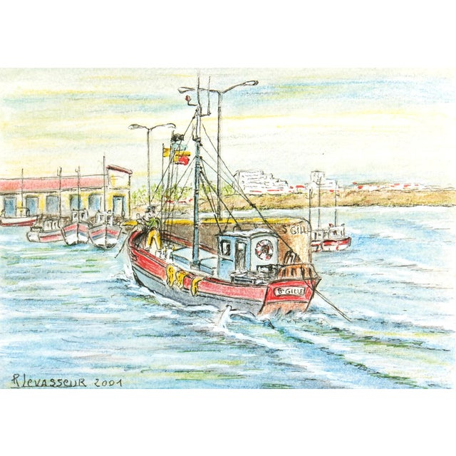 Contemporary French Port Watercolor Painting - Image 1 of 4