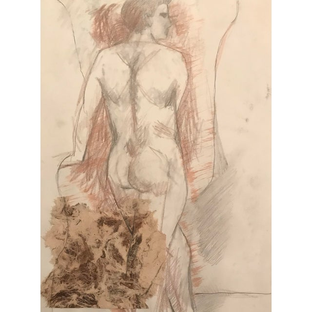 Mixed Media Collage and Drawing Male Nude, James Bone 1990s For Sale - Image 4 of 4
