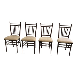 1970's Vintage Traditional Style Walnut Dining Chairs- Set of 4 For Sale