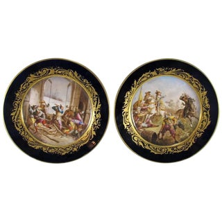 19th Century Antique French Sevres Porcelain Plates - A Pair