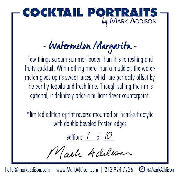 """Contemporary """"Watermelon Margarita"""" Limited-Edition Cocktail Portrait Photograph For Sale - Image 3 of 11"""