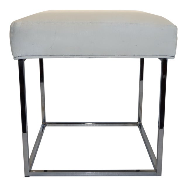 1970s Mid Century Modern Milo Baughman for Design Institute of America Cube Chrome Ottoman For Sale
