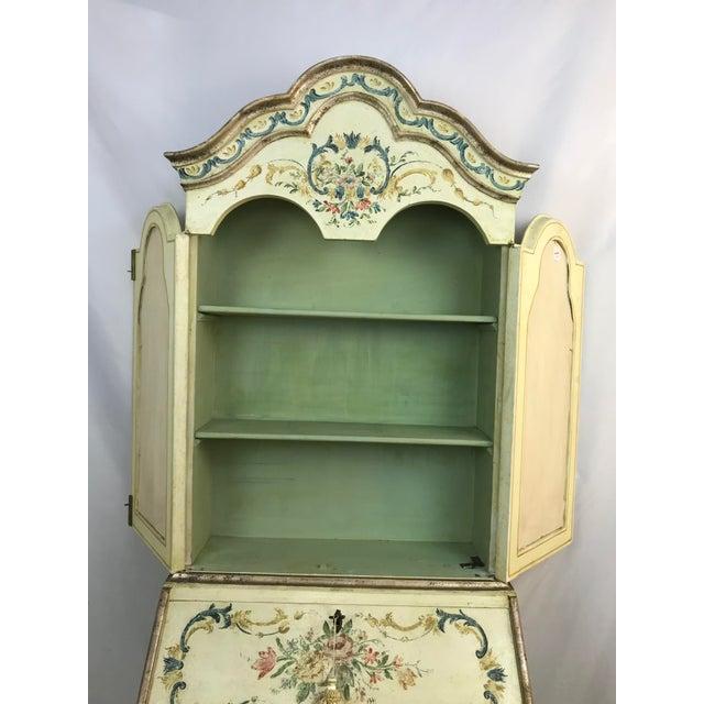 White 20th Century Cottage Quaint Floral Painted Secretary Desk For Sale - Image 8 of 11