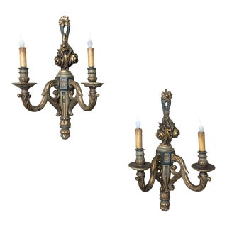 Antique Carved Wood Hand-Painted Italian Gilded Neoclassical Sconces - a Pair For Sale