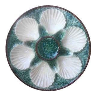 French Majolica Oyster Plate For Sale