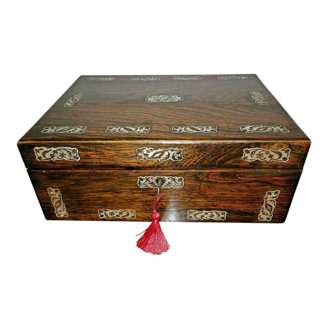 19c British Rosewood and Mop Inlaid Dressing Table Box For Sale
