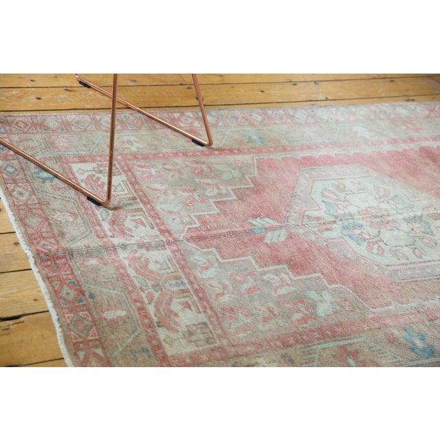 """Pink Vintage Distressed Oushak Rug Runner - 4'3"""" X 8'4"""" For Sale - Image 8 of 13"""