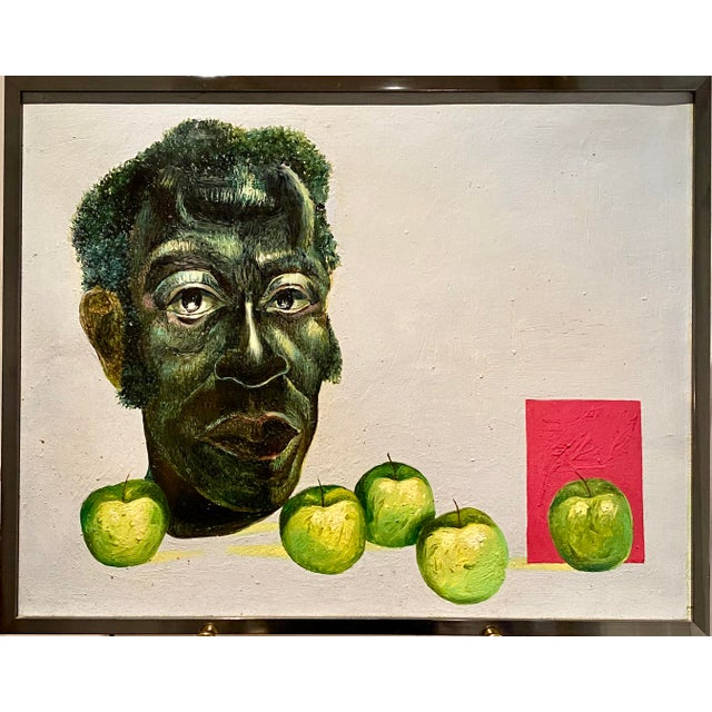 "Original Self-Portrait by Artist Roman E. Johnson, ""Self-Portrait With Green Apples"" (1984) For Sale"