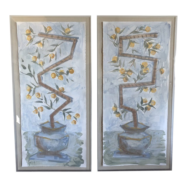 Decorative Painted Panels of Orange Trees in Lucite Boxes - a Pair For Sale