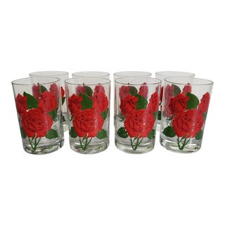 Cera Mid Century Rose Motif Lowball Glasses - Set of 8 For Sale
