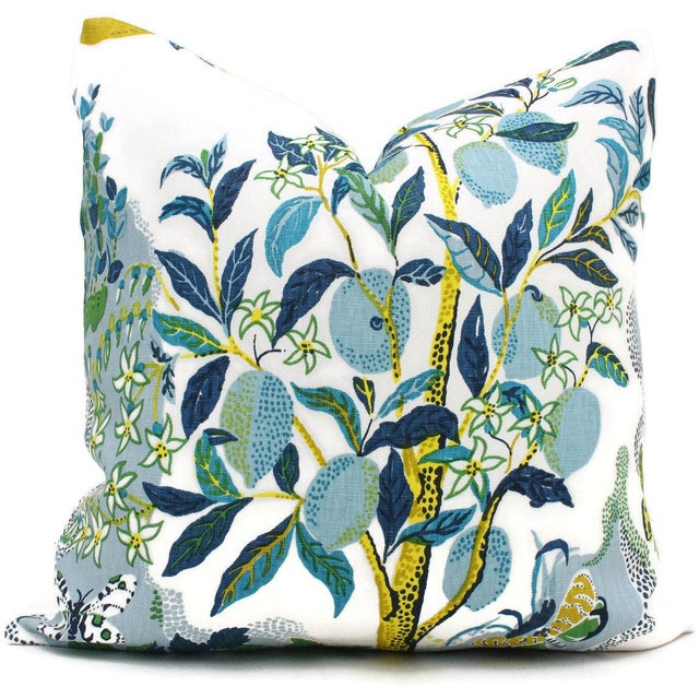 "Not Yet Made - Made To Order 20"" x 20"" Citrus Garden With Lemon Tree Decorative Pillow Cover Pool For Sale - Image 5 of 6"