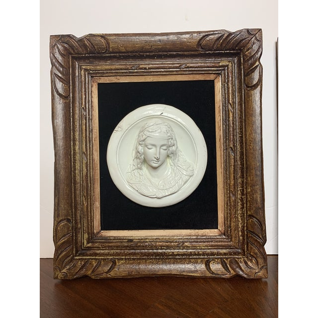 19th Century Glazed Chalkware Wall Mounting High Relief Bust Cameos - a Pair For Sale - Image 9 of 13