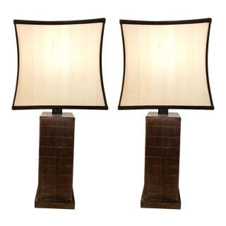 Karl Springer Style Leather Table Lamps With Custom Shades - a Pair For Sale