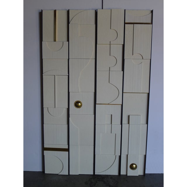 Modern architectural decorative series of four frieze wall panels in mixed materials and textures, by Paul Marra....