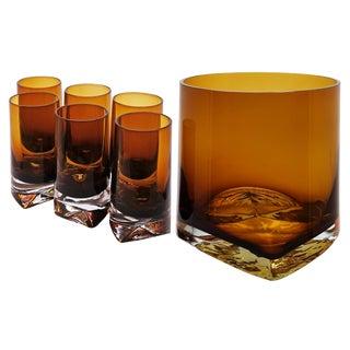 1970s Denby-Milnor Sweden Amber Blown Glass Crystal Cocktail Set of 7 For Sale