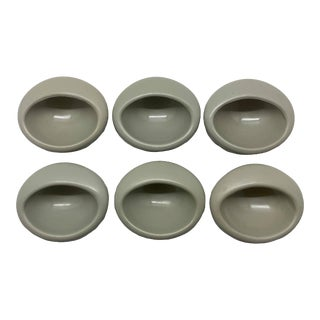 1960s Danish Recessed Furniture/Cabinet Round Pulls - Set of 6 For Sale