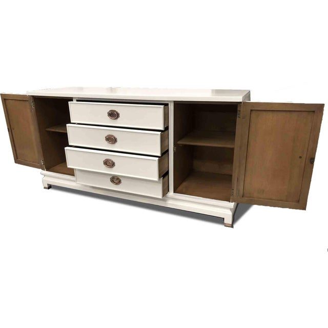 American of Martinsville 1960s American of Martinsville Chinoiserie White Credenza Newly Finished For Sale - Image 4 of 9