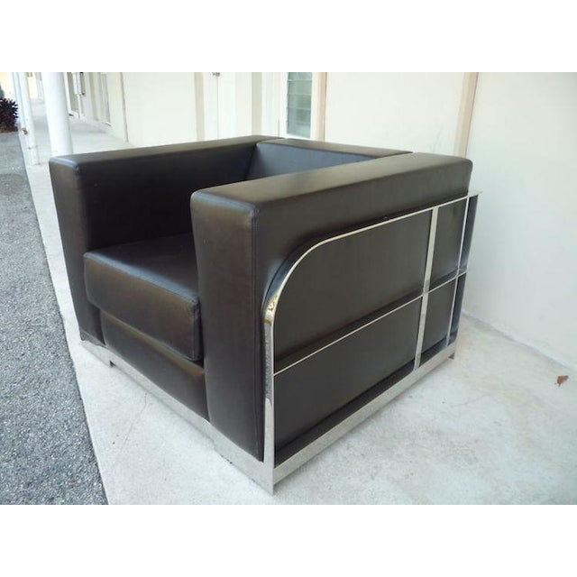 1990s Vintage Architectural Chrome & Leather Cube Chair For Sale - Image 9 of 9
