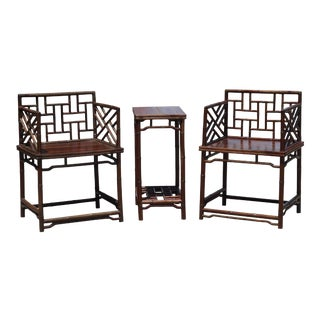 Pair of Chinese Faux Bamboo Chairs and Table Made from Rare Zhazhen Wood For Sale