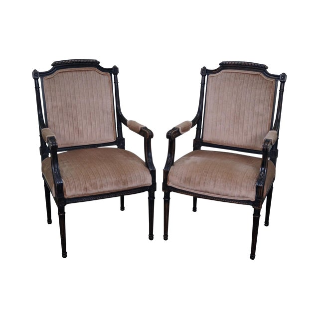 Custom Quality Pair of French Louis XVI Style Arm Chairs For Sale