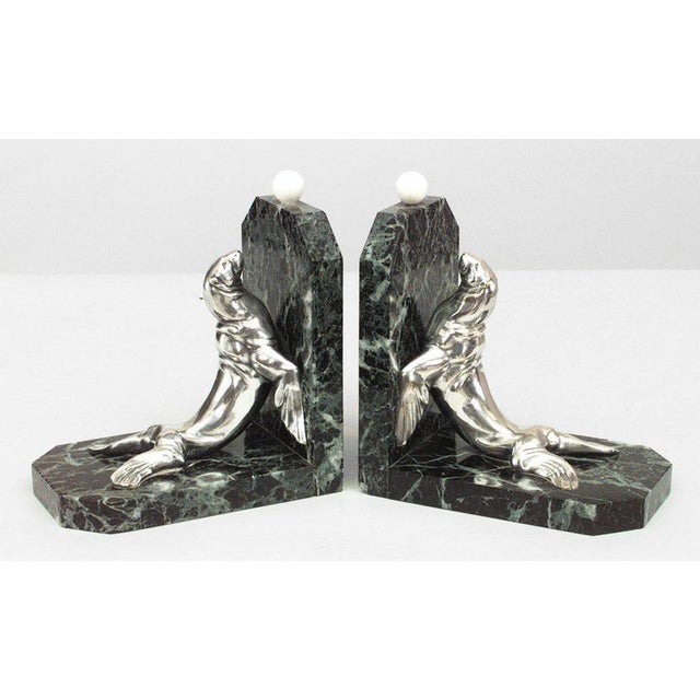 1930s Pair Of Art Deco Green Marble Bookends For Sale - Image 5 of 5