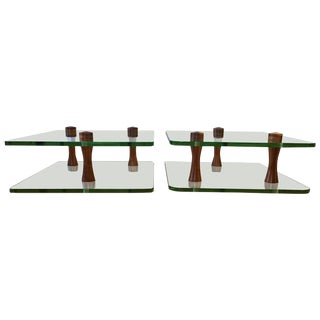 Gilbert Rohde for Herman Miller Walnut & Glass End Tables - A Pair For Sale
