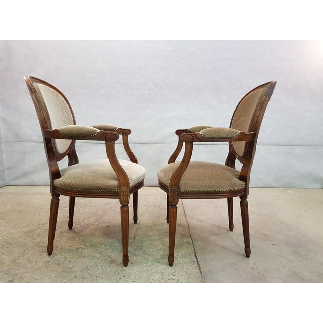 Brass Set of 6 Louis XVI French Medallion Beige Velvet Dining Chairs Two Armchairs Four Side Chairs For Sale - Image 7 of 13