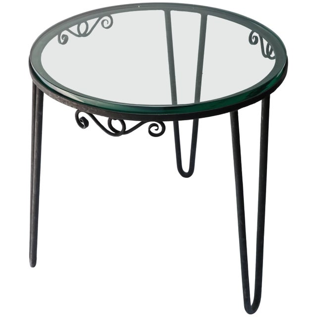 Metal 1960s Italian Round Metal Side Table With Glass Top For Sale - Image 7 of 7