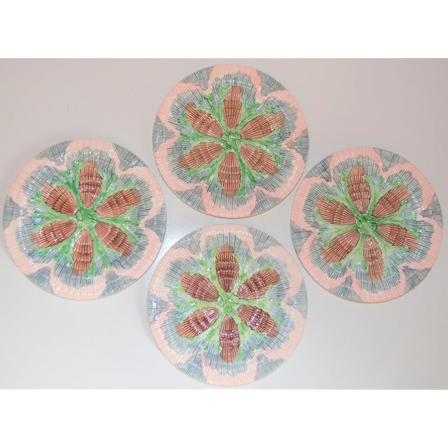 1980s Vintage Horchow Majolica Seashell Plates - Set of 4 For Sale - Image 5 of 8