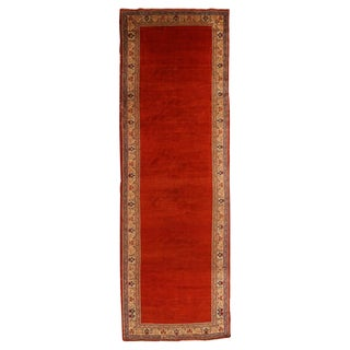 Vintage Mahal Persian Red and Beige Wool Runner Rug - 4′1″ × 17′10″ For Sale
